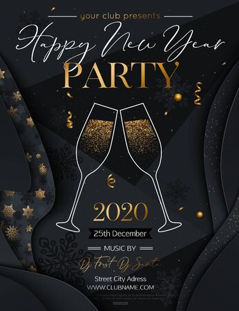 2020 Happy New Year Background. New Year Party Invitation with lettering text design and glasses of champagne. Vector illustration