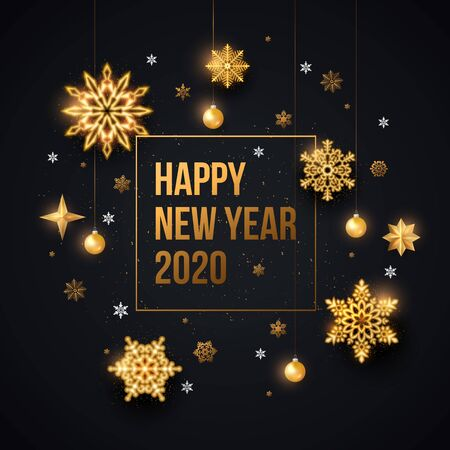 2020 Happy New Year Background with gold snowflakes, stars and hanging balls. Vector illustration