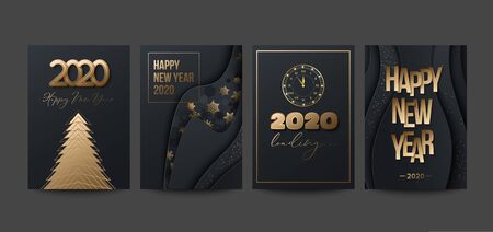 2020 Happy New Year posters set with snowflakes, stars and clock. Paper style. Vector illustration