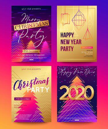 Poster impostati per il nuovo anno 2020 e il design delle vacanze di Natale. Illustrazione vettoriale Vettoriali