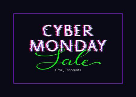Cyber Monday sale poster. Glitch design. Vector illustration Illustration