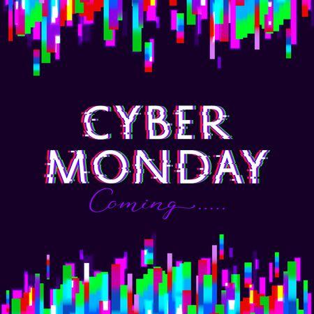 Cyber Monday sale poster. Glitch design. Illustration
