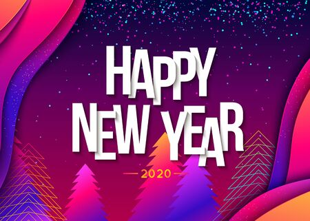 2020 Happy New Year Colorful Background. Vector illustration Illustration