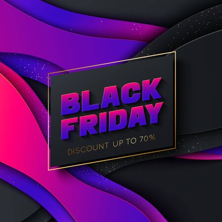 Black Friday colorful poster template.  イラスト・ベクター素材
