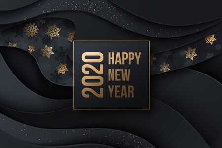 2020 Happy New Year Background with decorative elements snowflakes, stars and shiny particles. Vector illustration