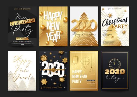 Posters set for 2020 New Year with decorative elements Christmas balls, tree, gold stars, snowflakes and shiny particles. Vector illustration Illustration