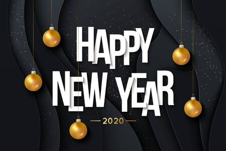 2020 Happy New Year Background with hanging gold balls. Vector illustration Ilustração