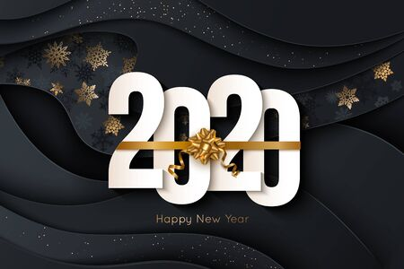2020 Happy New Year Background with decorative elements. Vector illustration