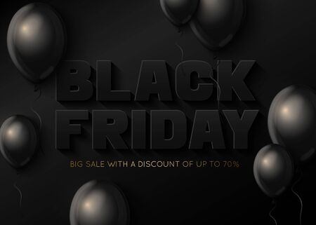 Black Friday sale banner template with balloons.  イラスト・ベクター素材