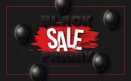 Black Friday Sale Banner Template.  イラスト・ベクター素材