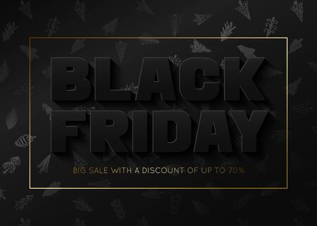 Black Friday sale banner template with new years tree pattern