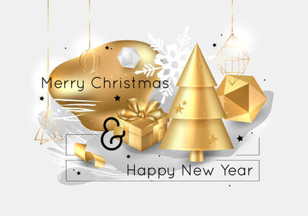Merry Christmas and Happy New Year. 2020. Collage design for creating brochures, booklets, banners. Holiday vector illustration.