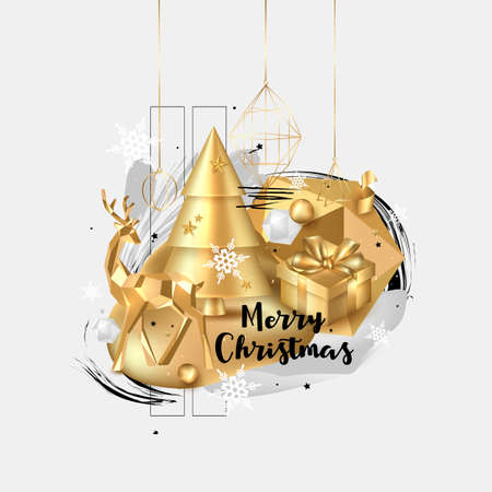 Merry Christmas and Happy New Year background. 2020 greeting card. Collage design with gold elements: deer, gift box, cristmas tree, balls