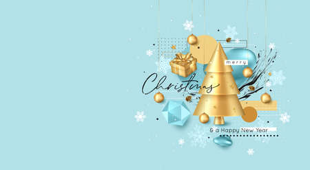 Merry Christmas and Happy New Year greeting card template. Vector illustration.