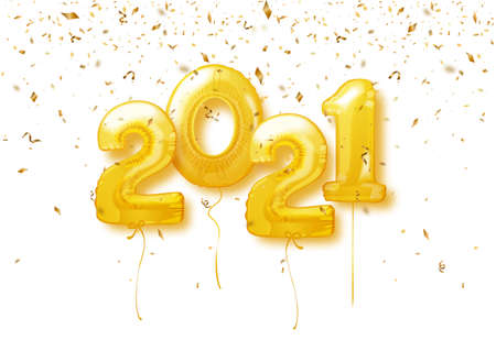 Happy New Year 2021 Background. 2021 number of golden balloons with confetti. Vector illustration. Ilustração