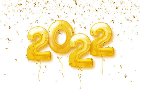 Happy New Year 2022 Background. 2022 number of golden balloons with confetti. Vector illustration.