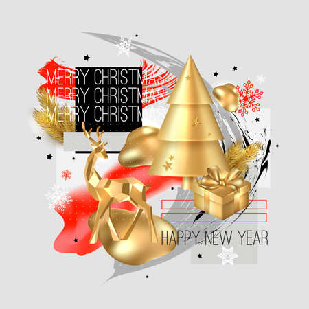 Merry Christmas and Happy New Year background. 2020 greeting card. Collage design with deer, gift box, cristmas tree, balls, snowflake. Ilustração