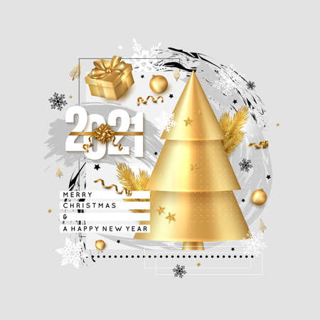 Merry Christmas and Happy New Year background. 2021 greeting card. Collage design with Christmas tree branches , gift box, balls, snowflake, serpentine gold Ilustração