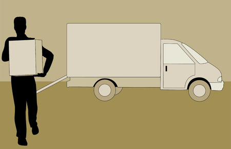 vecter: a man Delivering a Package with delivery truck behind him
