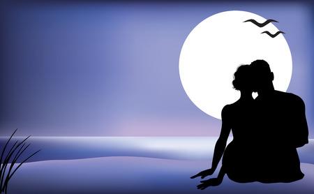 siluetas de enamorados: Silueta de una pareja de mimos en una playa iluminada por la luna. Vectores
