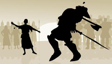 David y Goliat en el medio de la batalla como la piedra golpea la cabeza Goliats Ilustración de vector