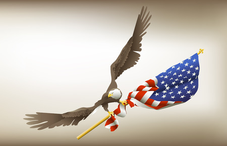 patriotic eagle: Eagle Holding Flag with gradient mesh sepia tone background.