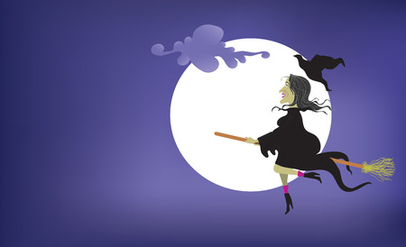 flying hat: Flying Whimsical Which infront of moon with hat flying off. Illustration