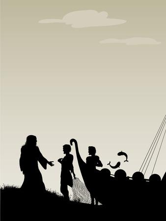 Fishers Of Men Jezus kiest zijn apostelen als vis sprong uit het schip. Stock Illustratie