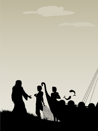recibo: Pescadores de Hombres Jesús elige a sus Apóstoles como salto de pescado de la nave. Vectores