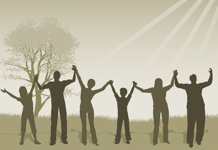 group of hands: illustration of People Lifting Hands in Praise Illustration