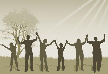 mujeres y niños: Ilustración de la gente de elevación manos en alabanza