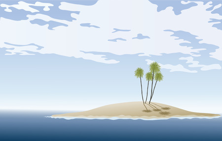 illustration of a Deserted Island with Palm Tree.