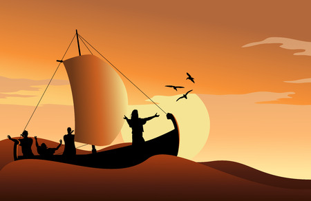 small boat: Jesus Calms the Sea Illustration