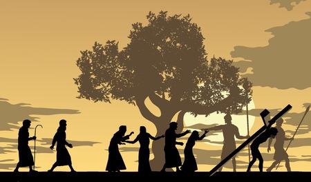 arbol de pascua: Jesús lleva la ciudad a través cruz con la gente de luto y seguirle.