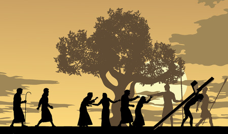 Jesus carries the cross trough town with people mourning and following Him. Illustration