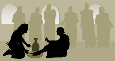 Jesus Washing Simon Peter's Feet as His Disciples Look On