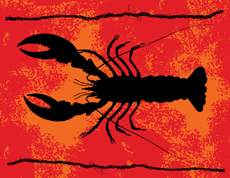 Silhouette Of Lobster With Red Orange Grunge Background