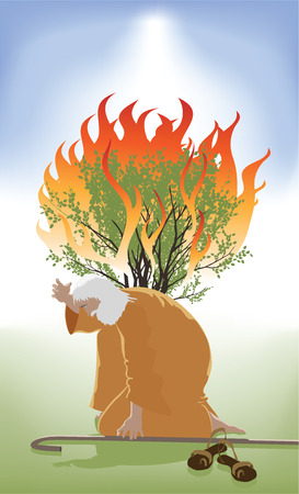 Moses Bent Down infront of the Burning Bush as God Speaks 版權商用圖片 - 42340197