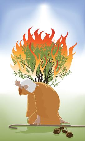 Mozes bukte Infront van de Burning Bush als God spreekt