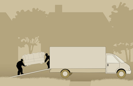 Two men lifting a couch into a moving van in a residential neighborhood.