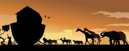 Animales Boarding Arca de Noé en el Sunset con Noé manos levantadas en alabanza