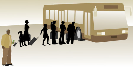 back lit: People Boarding Bus with Bus Driver in Foreground Illustration