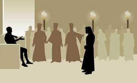derecho romano: Jesús ante Poncio Pilato, acusado por el Sanedrín, ya que espera
