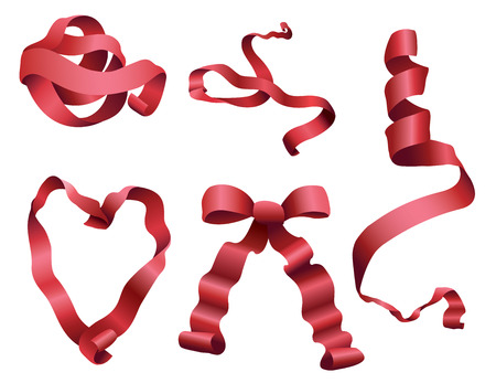 vecter: Ribbons tied and curled in different poses.
