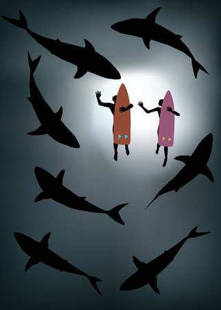 Two surfers surrounded by sharks viewed from underneath.