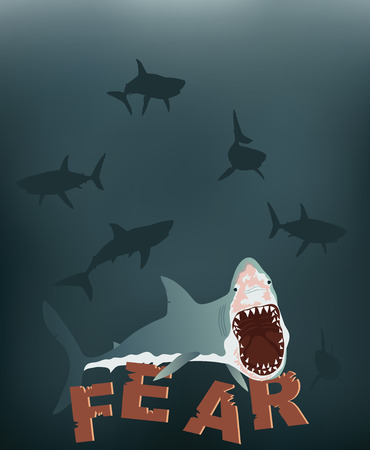 wide open: Front view of a great white shark with mouth wide open. Illustration