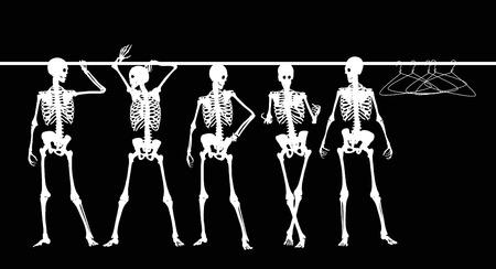 halloween skeleton: Silhouette Of Skeletons In The Closet