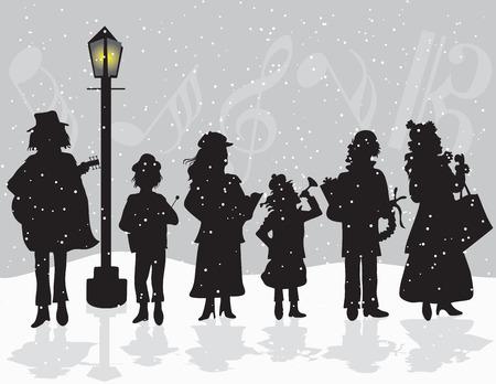 ni�o cantando: Carolers que cantan fuera mientras nieva Vectores