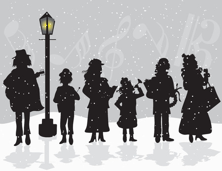 Carolers singing outside while it Snows Ilustrace