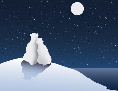 noche y luna: Mano alzada Ilustración de oso polar Romance